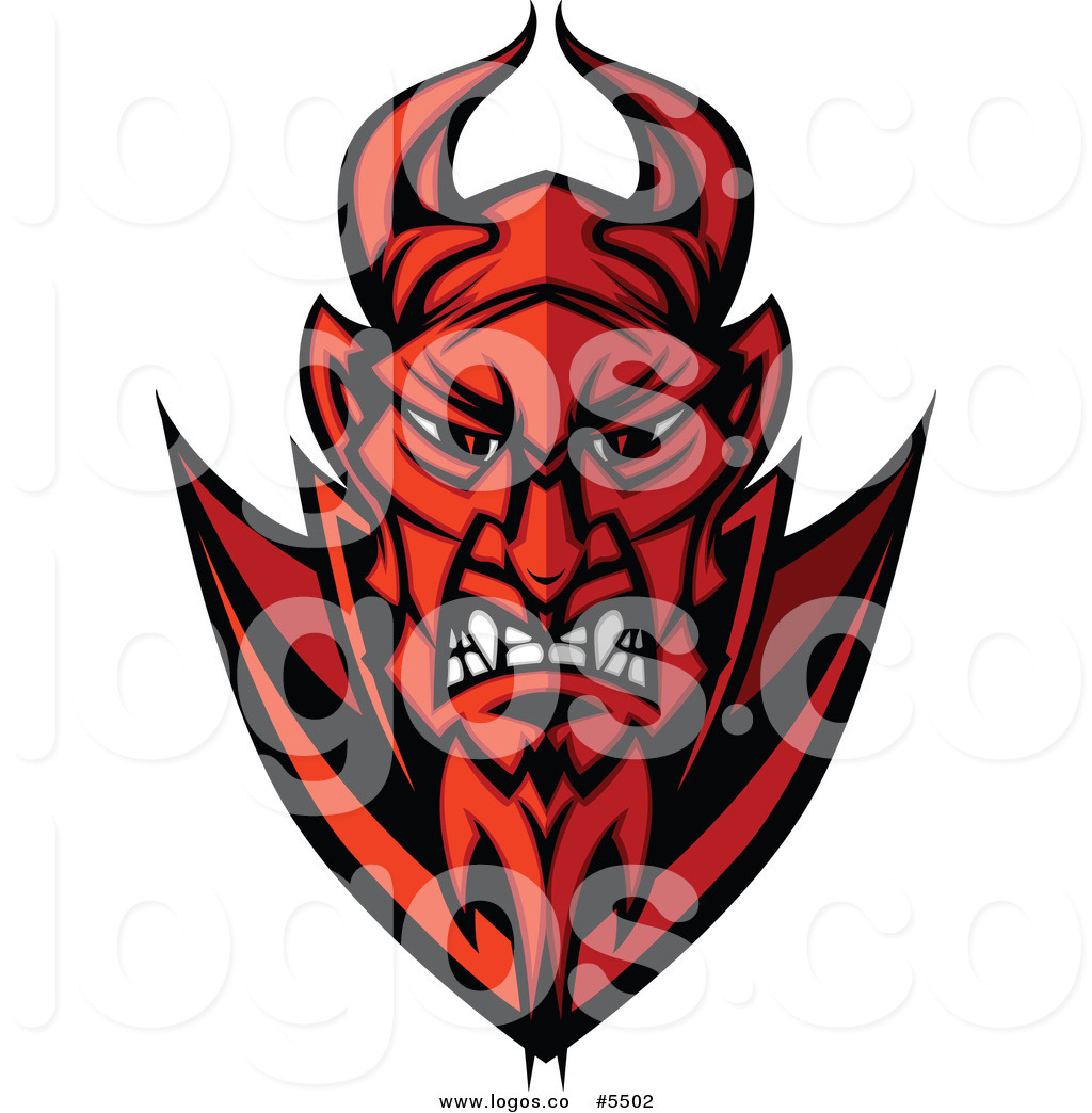 Royalty Free Vector of a Logo of a Red Angry Devil Face by Chromaco.