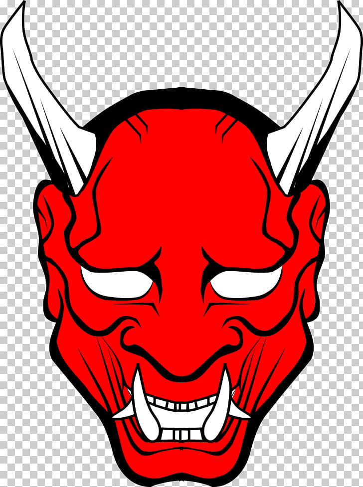 Lucifer Devil Satan , Oni Mask Photos, grinning evil icon.