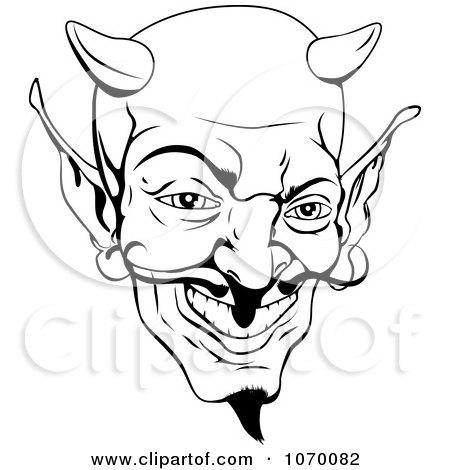 devil head clipart black and white #9
