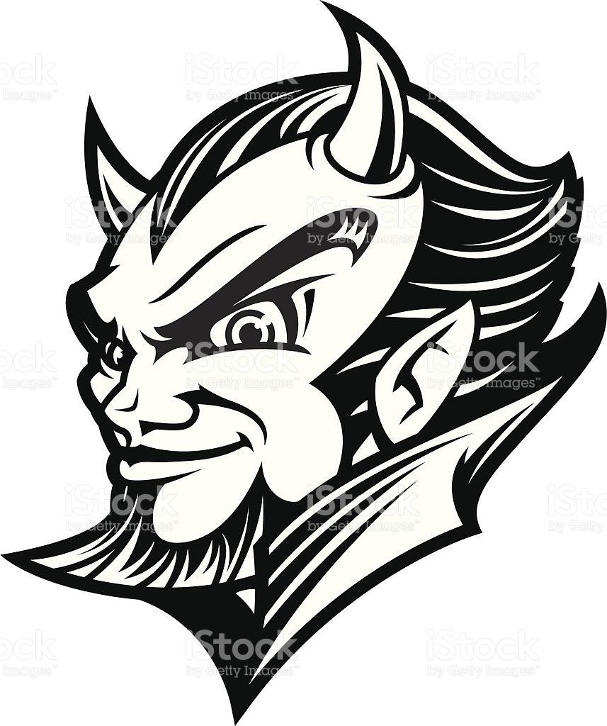 devil head clipart black and white #7