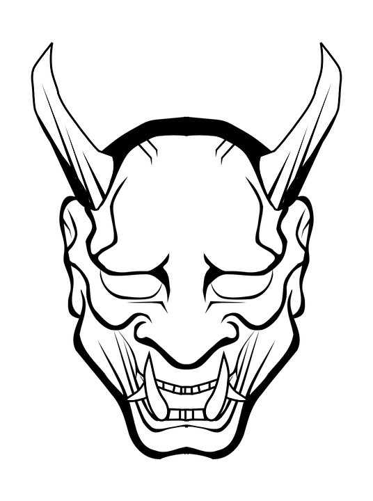 devil head clipart black and white - Clipground