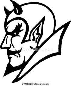 devil head clipart black and white #20