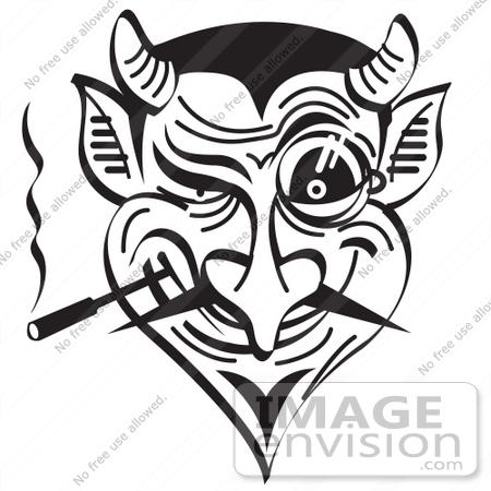 devil head clipart black and white #15