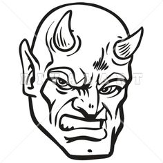Mascot Clipart Image of A Devils Mascot Head In Black And White.