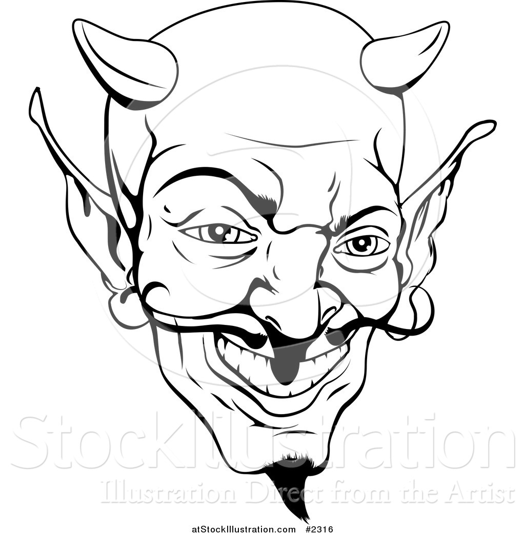 Vector Illustration of a Black and White Devil Face by.