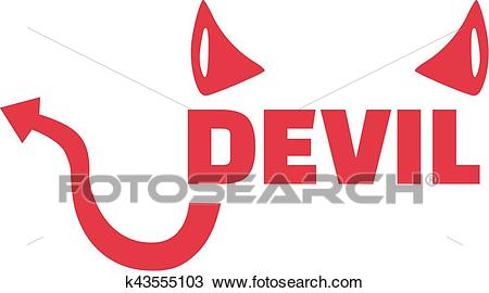 Devil word with horns and tail Clipart.