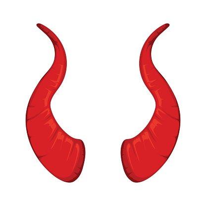 Vector Illustration of Red Devil Horns premium clipart.