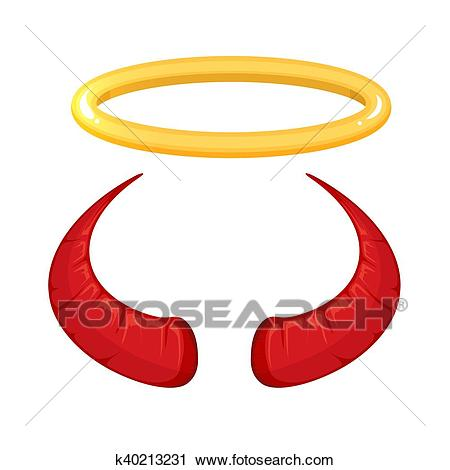 Vector illustration of red Devil horns Clipart.