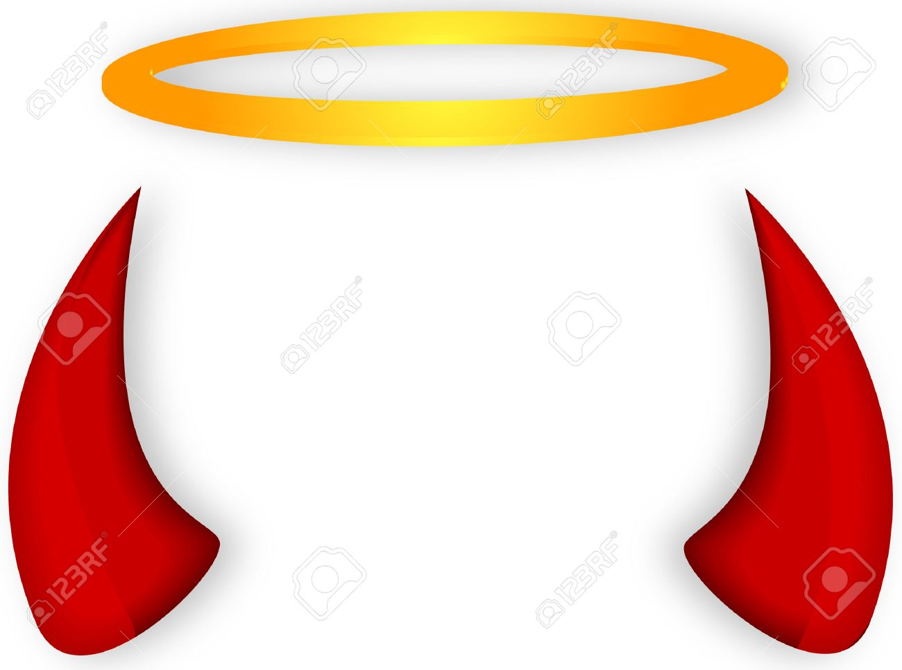 Angel's halo and devil horns, vector art illustration..