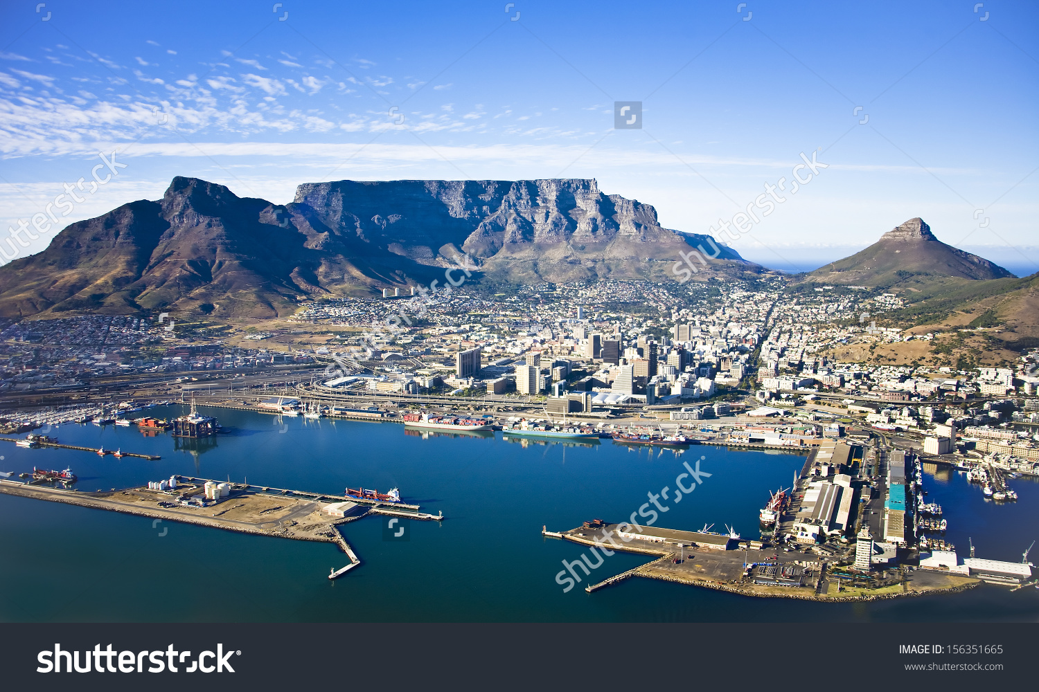 Aerial View Cape Town City Centre Stock Photo 156351665.