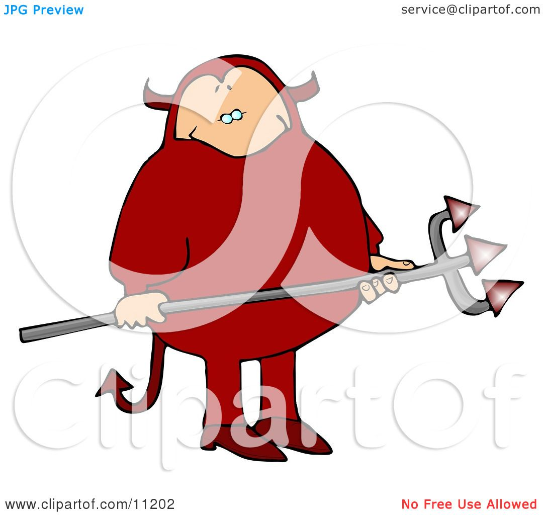Fat Man in a Red Devil Costume, Carrying a Pitchfork Clipart Picture.