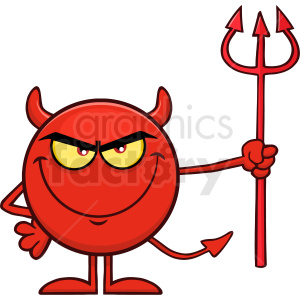 Red Devil Cartoon Emoji Character Holding A Pitchfork Vector Illustration  Isolated On White Background clipart. Royalty.