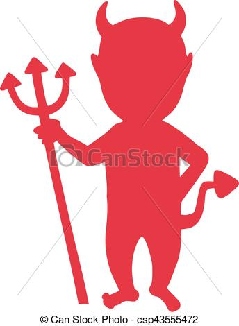 Devil silhouette with trident.