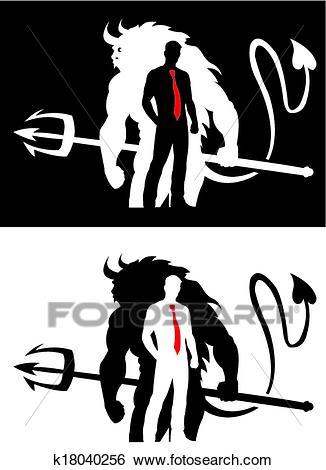 Devil and Man Silhouette Clip Art.