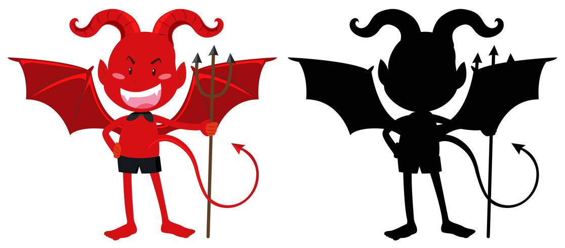 Red devil and its silhouette.