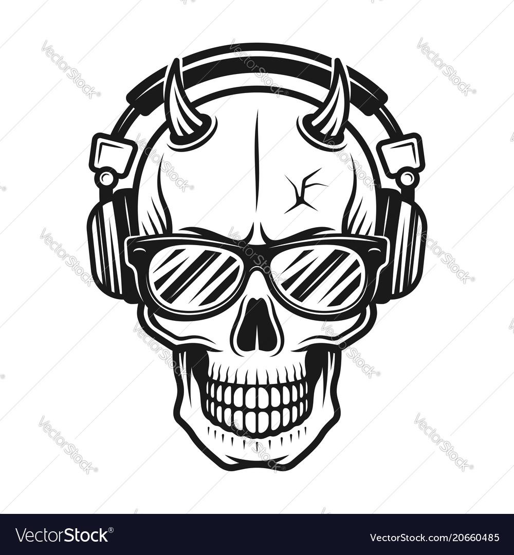 Devil skull head with horns in headphones.