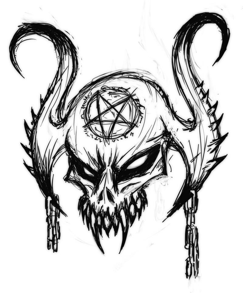 Devil Skull Drawing.