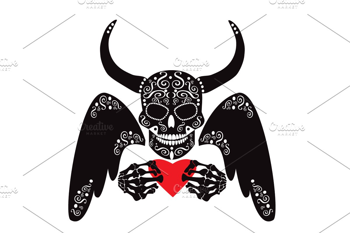 Devil skull icon with heart.