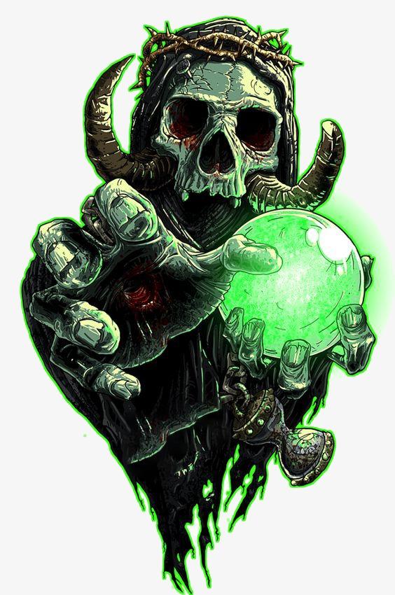 Devil Crystal Ball, Skull, Demon, American Comics PNG Transparent.