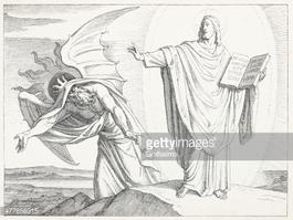 Devil Asking Jesus TO Turn Stones Into Bread stock vectors.