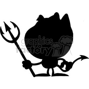 Cartoon Silhouette Little Devil with Pitchfork clipart. Royalty.