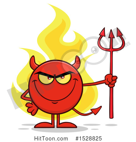 Devil Clipart #1528825: Round Red Devil Holding a Pitchfork and.