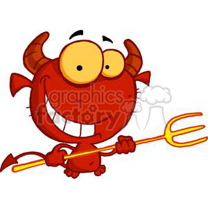 happy little red devil with pitchfork and smile clipart. Royalty.