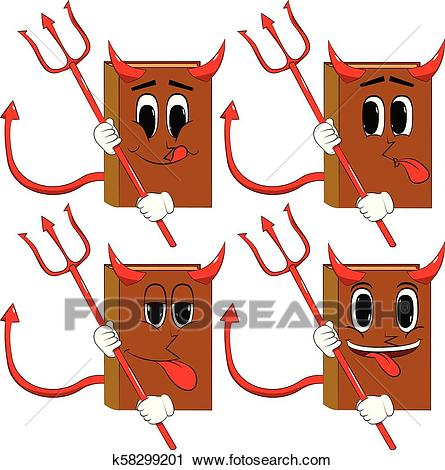 Books devil with pitchfork. Clipart.