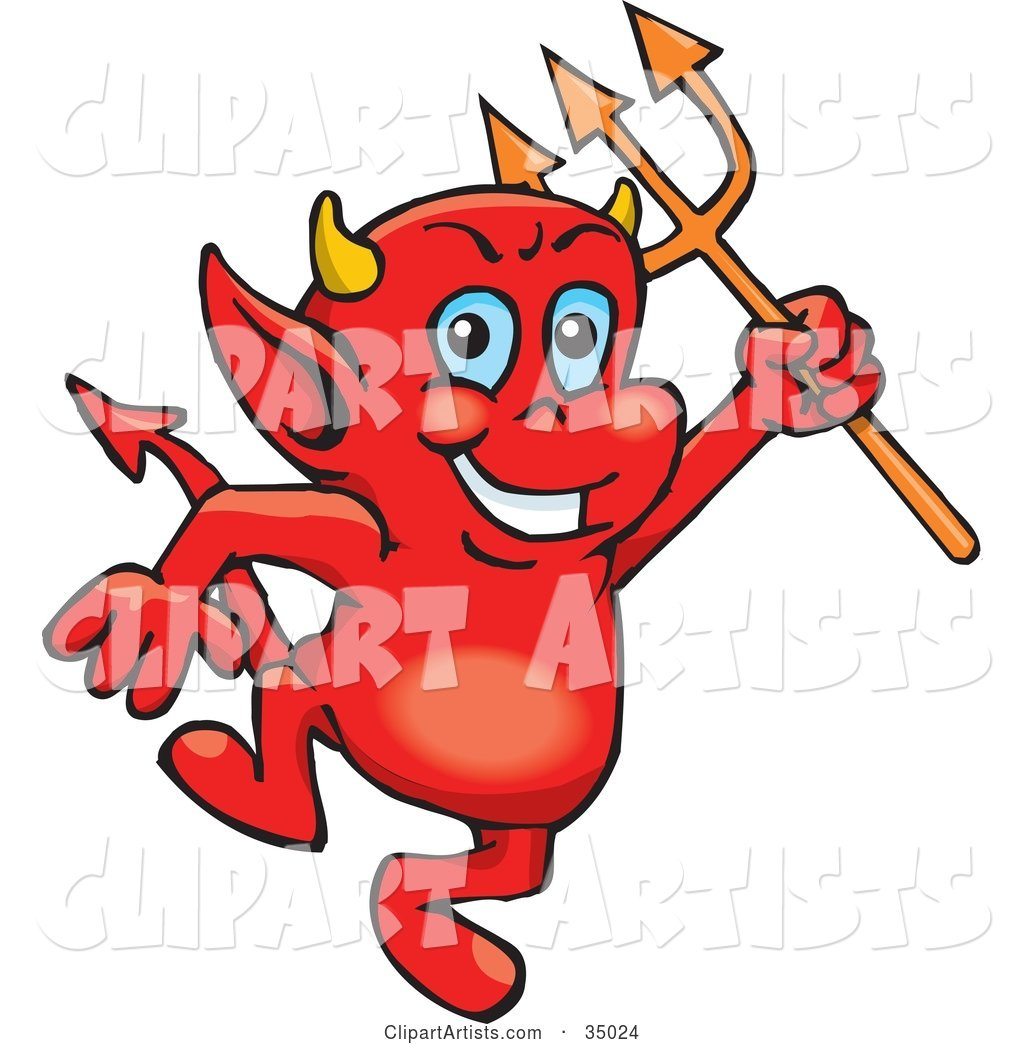 Troublesome Little Red Devil Dancing With A Pitchfork Clipart by.