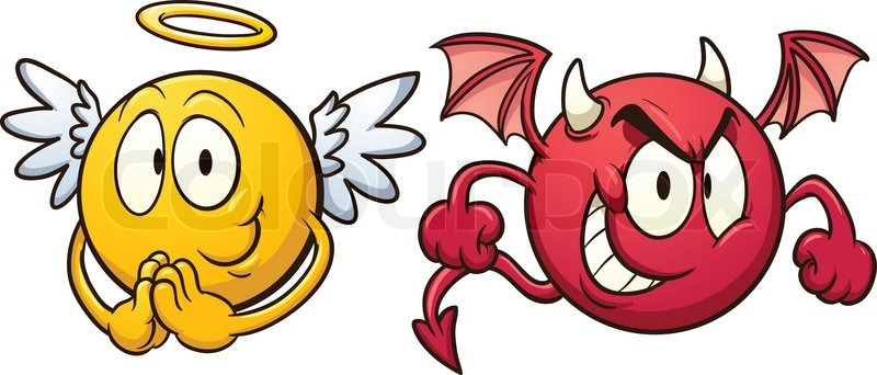 Angel and devil emoticons. Vector clip art illustration with.