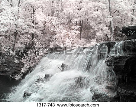 Stock Photo of Waterfall in a forest, Devil's Den State Park.