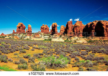 Stock Image of Rocks formation at Devil's Garden, Arches National.