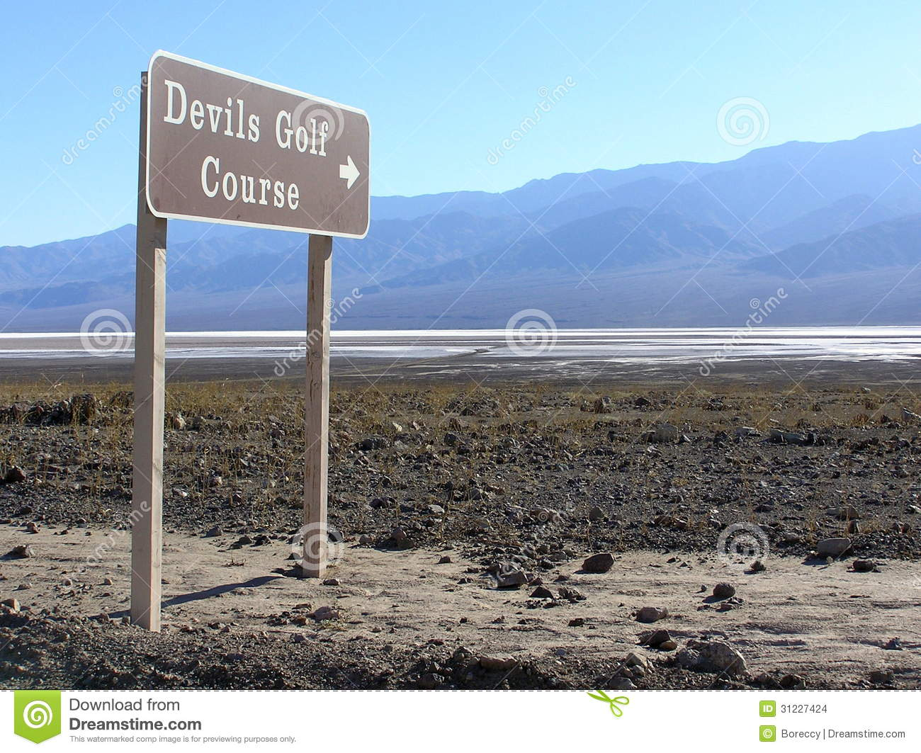 Devils Golf Course Sign, Death Valley National Park Stock Images.