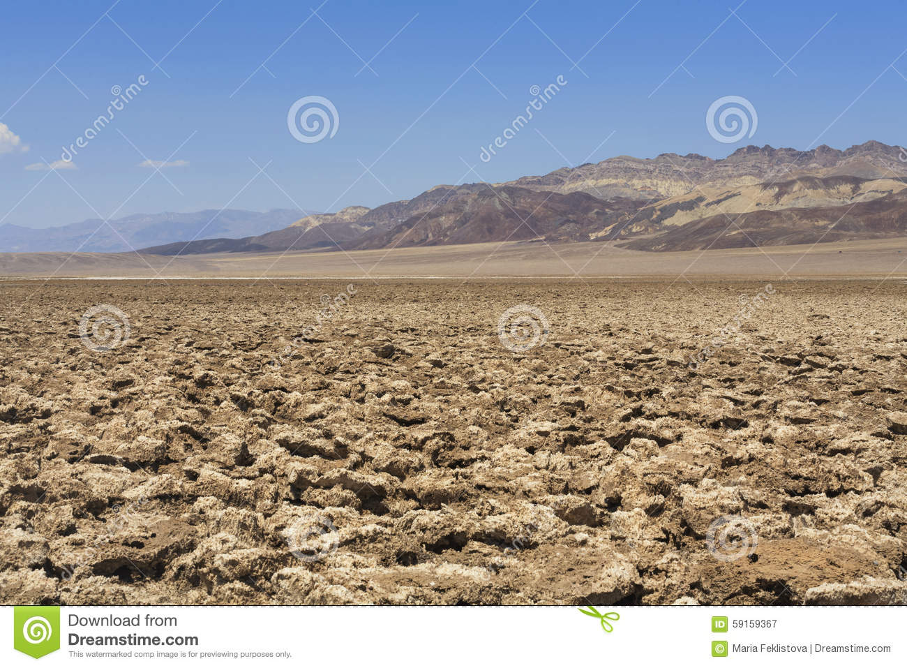 View To Devil's Golf Course, Death Valley Stock Photo.