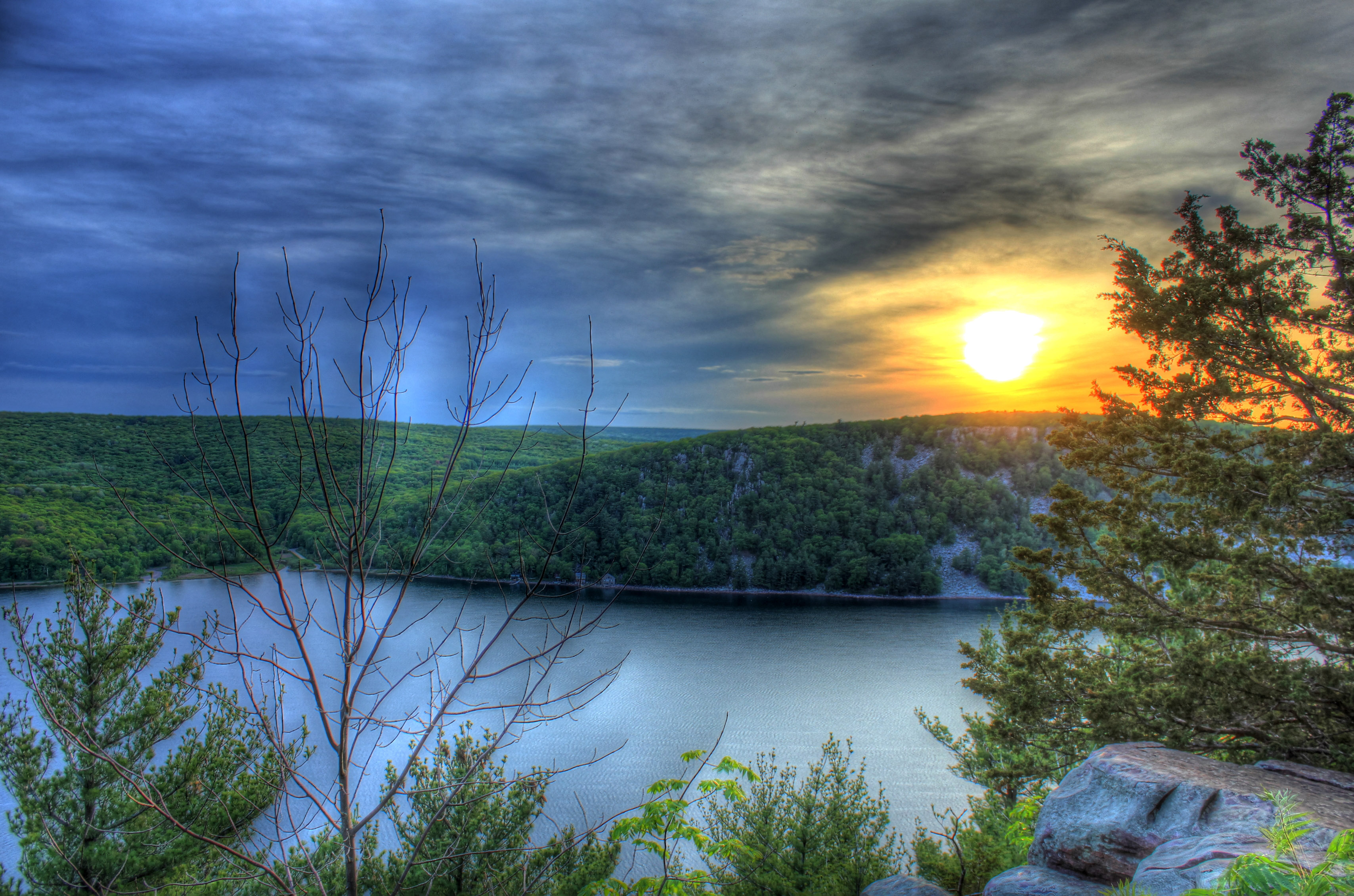 Fading sun over hills at Devil's Lake State Park, Wisconsin.