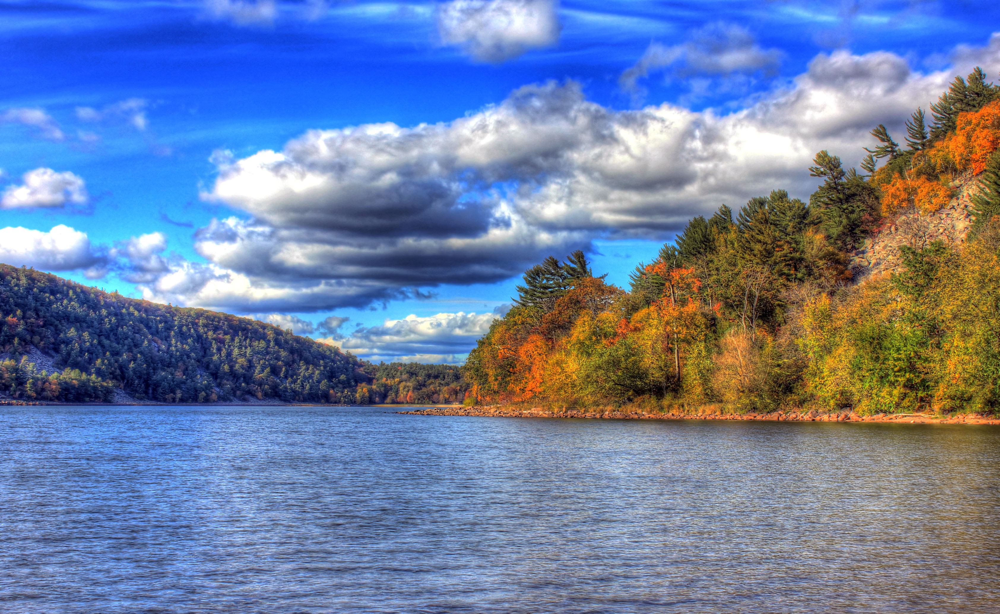 Forest, lake, and clouds at Devil's Lake State Park, Wisconsin.