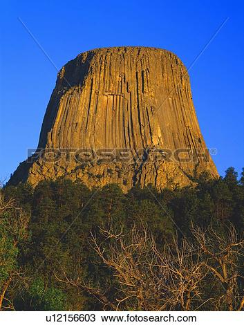 Stock Photo of Volcanic core, Devils Tower National Monument.