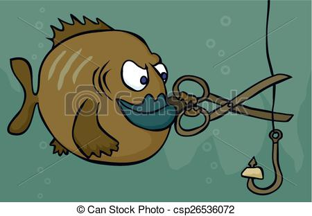 Vectors Illustration of Fish sabotage.