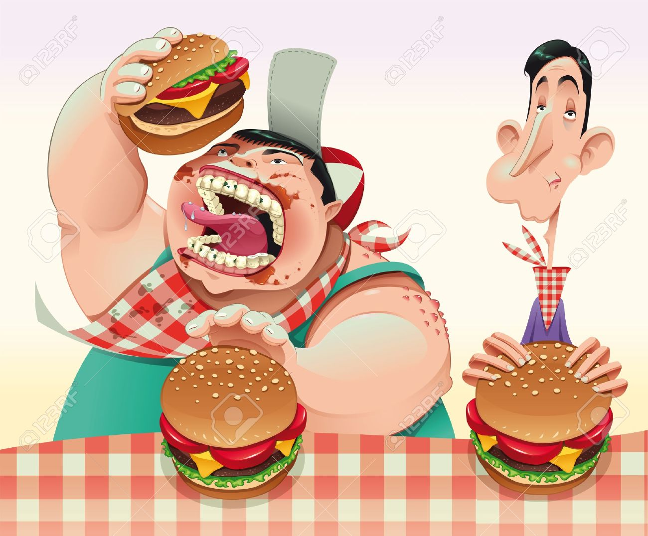 Guys With Hamburgers. Cartoon And Vector Illustration. Royalty.