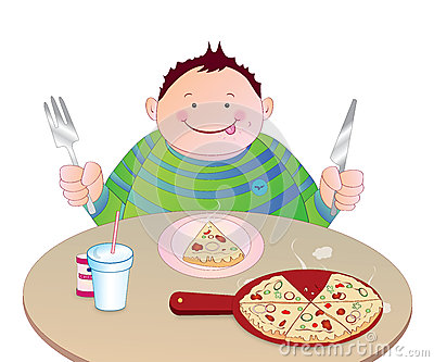 Kid Eating Pizza Royalty Free Stock Images.