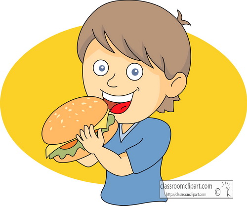 Clipart starving kid devouring burgers.