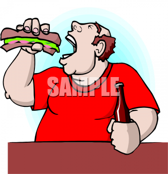 Clip Art Picture of a Fat Man Devouring a Hoagie.