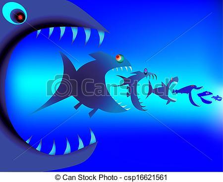 Clip Art Vector of Fish predators devour each other csp16621561.