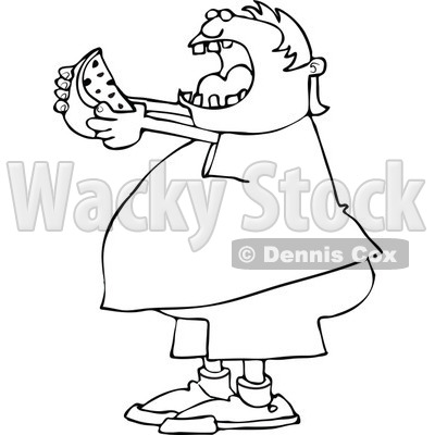 Clipart of a Cartoon Black and White Chubby Boy Ready to Devour a.