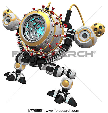 Clipart of Malware concept robot poised and ready to devour.