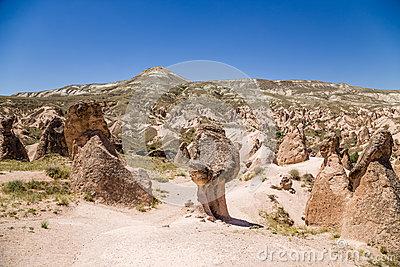 Cappadocia, Turkey. Mountain Landscape With Pillars Of Weathering.