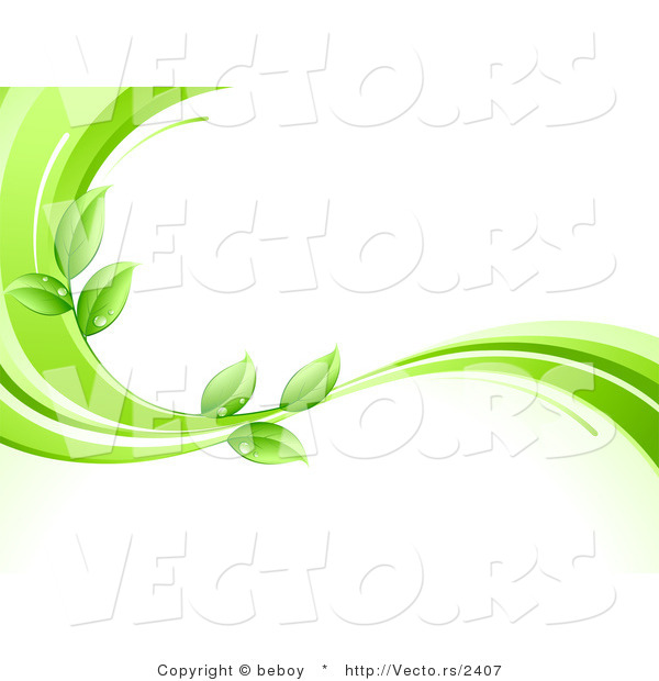 Vector of Organic Green Leaves Wet with Dew Drops on a Green Wave.