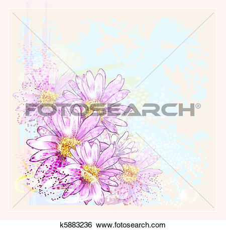 Clip Art of pink flowers with dew drops k5883236.