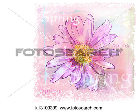 Clip Art of pink flower with dew drops k13109399.