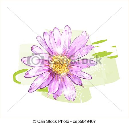 Vectors Illustration of pink flower with dew drops csp5849407.